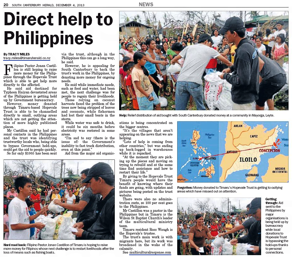 Directo Help to Philippines - South Canterbury Herald