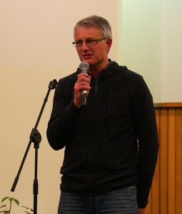 Pastor John giving his welcome talk.