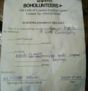 Acknowledgment Receipt from Boholunteers