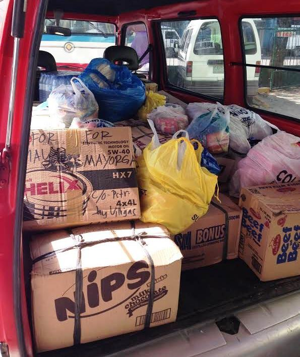 Relief goods for the people of Mayorga, Leyte