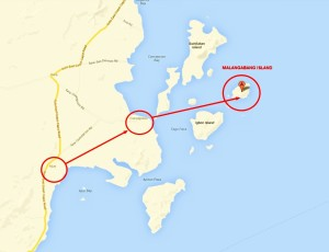 Relief route to Malangabang Island