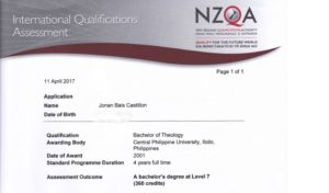 My Bachelor of Theology NZ Qualification